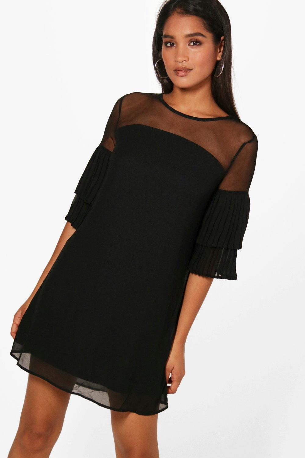 For Sale Cheap Real Boohoo Mesh Top Ruffle Sleeve Shift Dress Free Shipping Excellent Best Place Online Lf6J9NLpy9