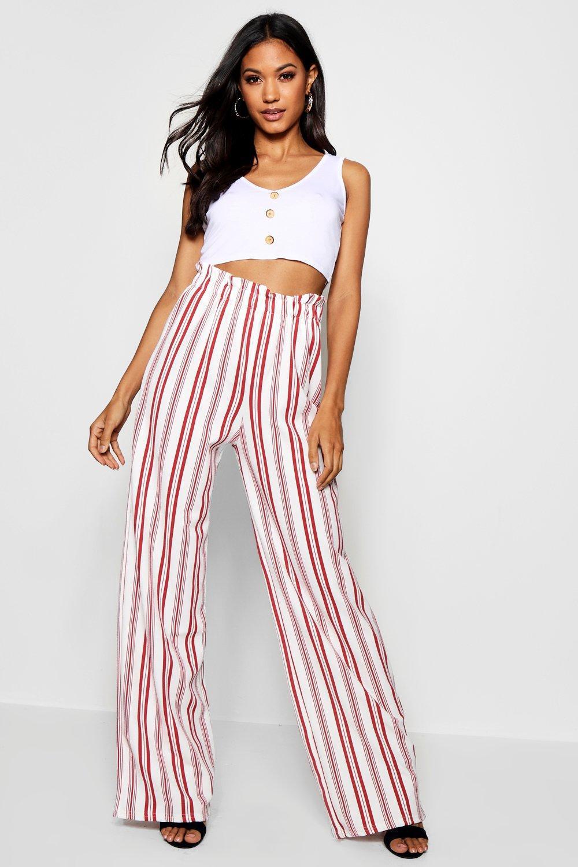 a0e7c7e2292b Lyst - Boohoo Crepe Stripe Paperbag Wide Leg Trouser in Red