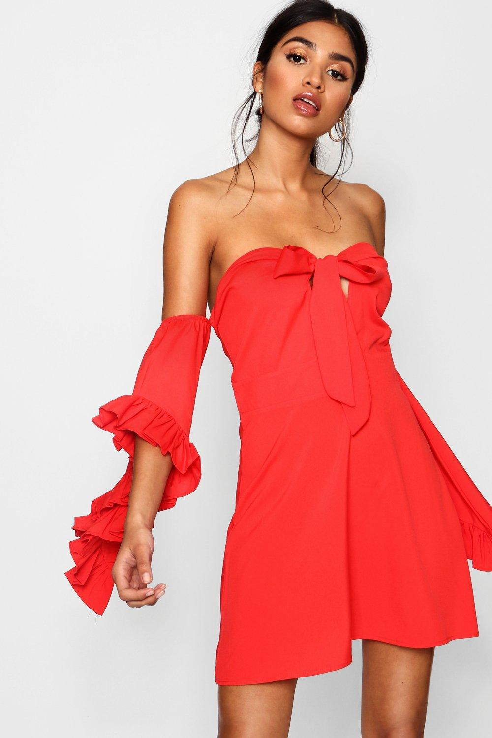 Lyst - Boohoo Knot Front Exaggerated Sleeve Skater Dress in Red ef2ba4a67