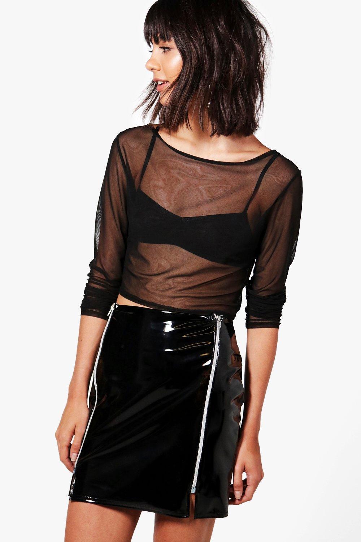 9a799055a Lyst - Boohoo Aurora High Shine Patent Zip Front Mini Skirt in Black