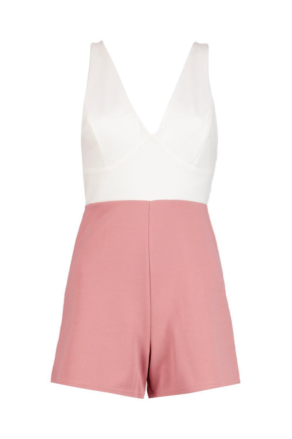 4b40cc2b37 Boohoo Beth Colour Block Tie Back Strappy Playsuit in Pink - Lyst