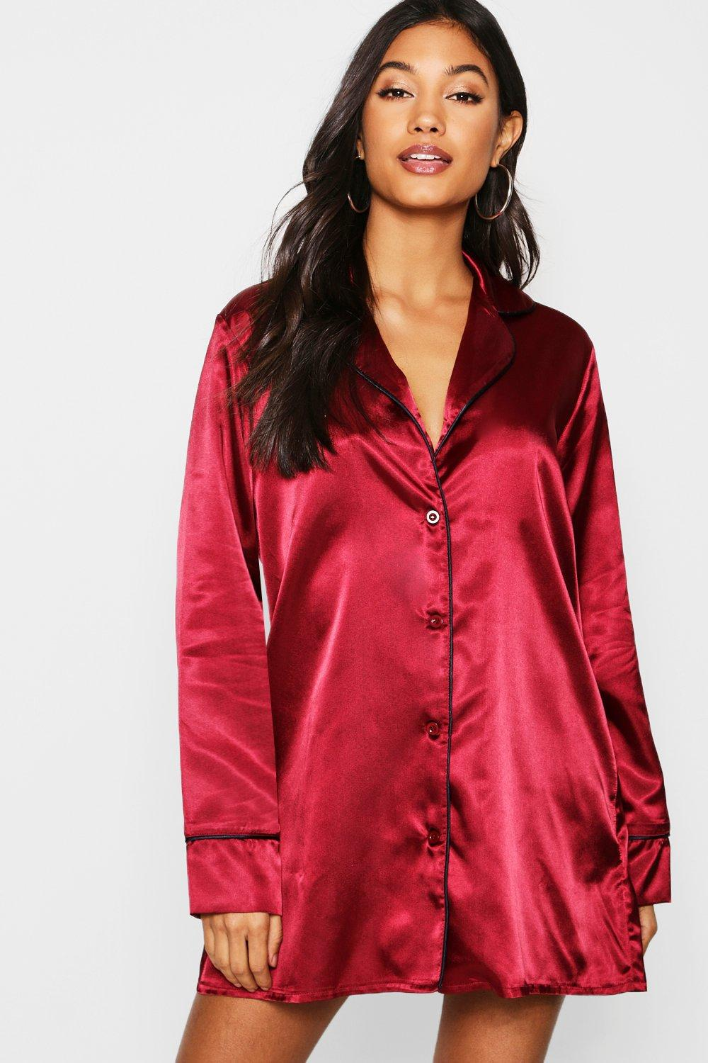 05231d5983 Lyst - Boohoo Satin Button Through Night Shirt in Red - Save 33%