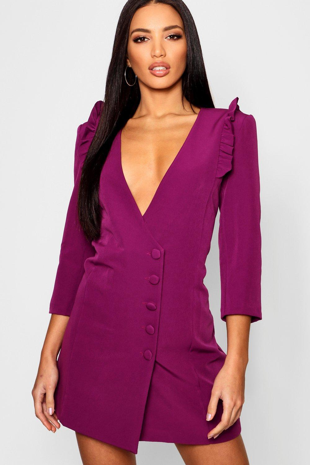 7e16cce47cc9 Boohoo Woven Ruffle Shoulder Button Detail Blazer Dress in Purple - Lyst