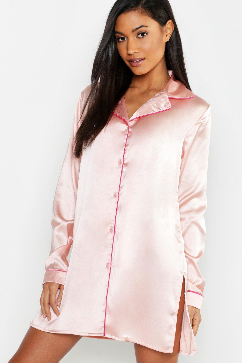 fe22bee50b Lyst - Boohoo Satin Button Through Nightshirt in Pink