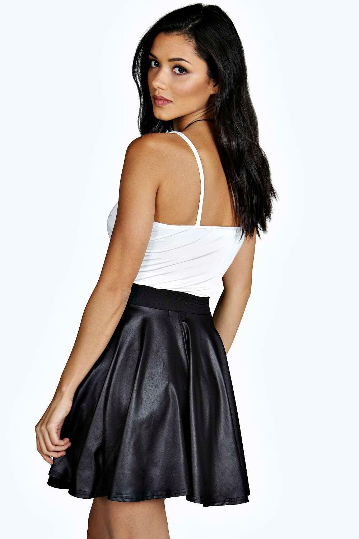 a3735a133da5d Boohoo - Black Roza Coated Leather Look Skater Skirt - Lyst. View fullscreen