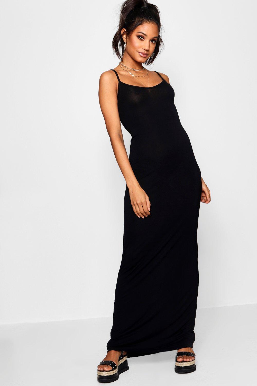 f71be548fc729 Boohoo Hedda Basic Strappy Cami Maxi Dress in Black - Save 25% - Lyst