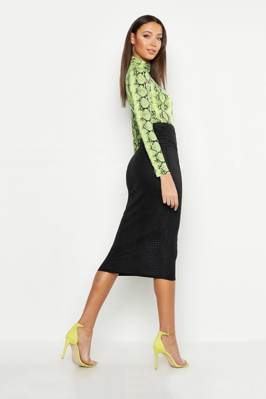 fdca6c479 Boohoo - Black Tall Snake Pu Embossed Midi Skirt - Lyst. View fullscreen