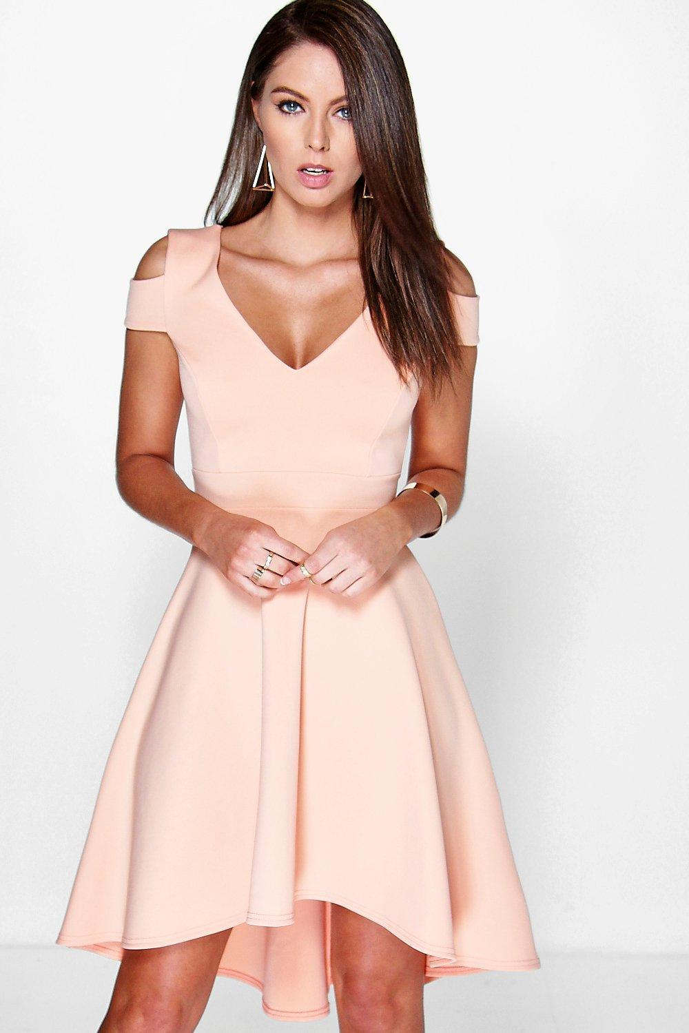 36475f8066 Boohoo Bardot Plunge High Low Skater Dress in Pink - Lyst