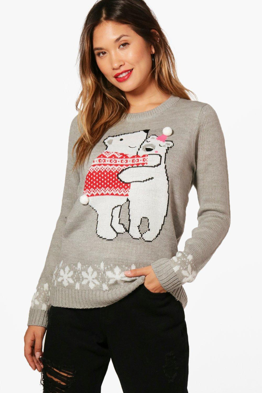 f1c48420727eb Lyst - Boohoo Pom Pom Christmas Jumper in Gray