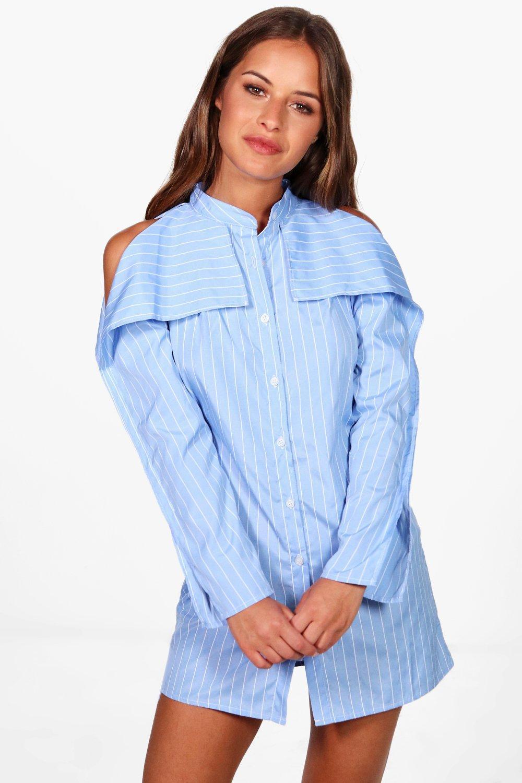 71c92fe84abc Lyst - Boohoo Petite Kelis Stripe Open Shoulder Shirt Dress in Blue