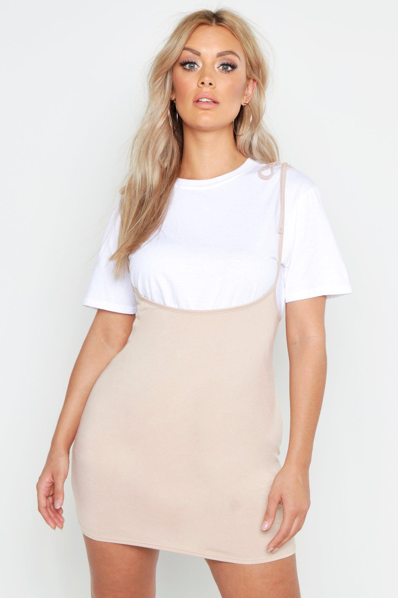7346881e78 Lyst - Boohoo Plus Tie Strap Pinafore Dress in White