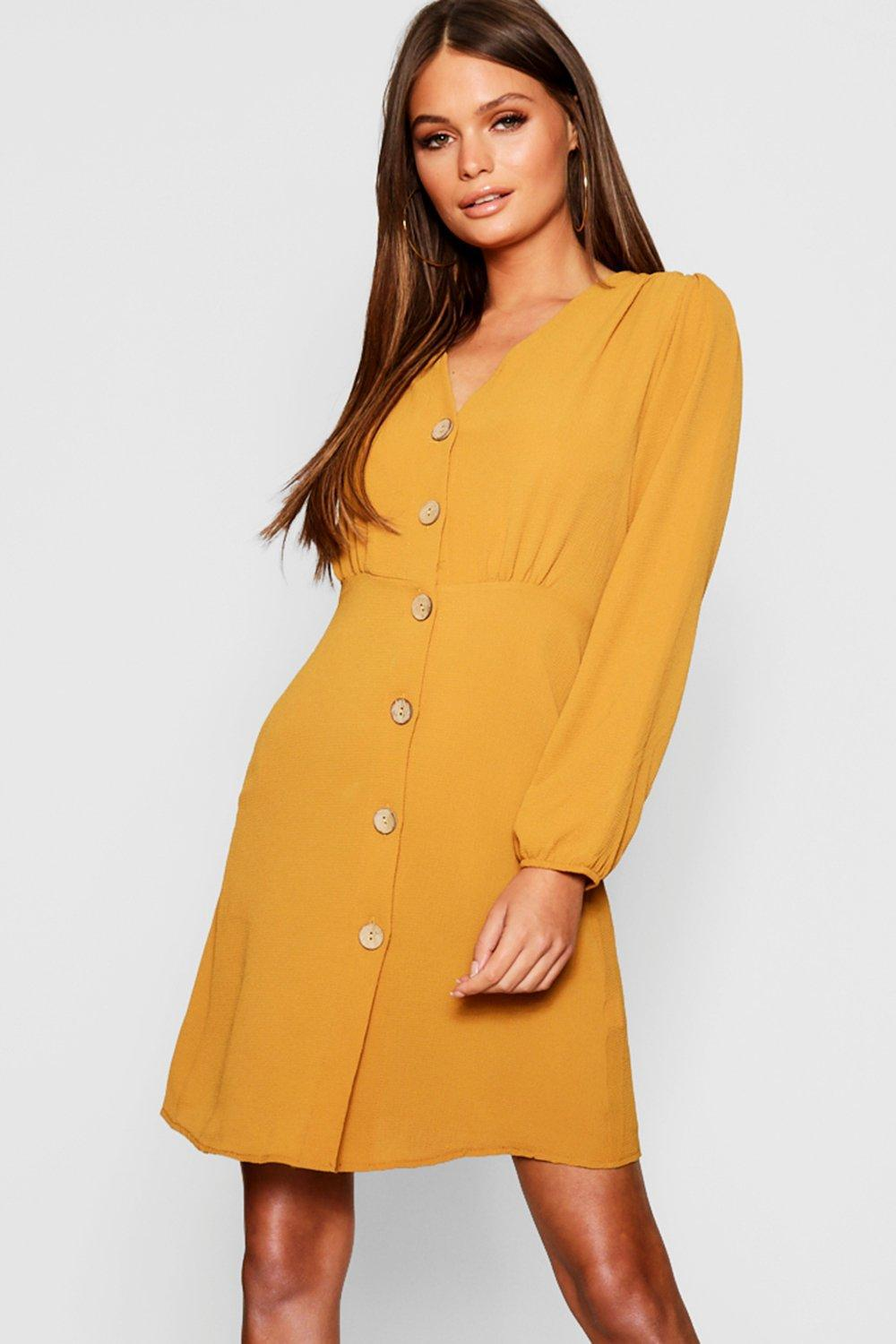 d6ddc9f55c Boohoo Satin Button Front Skater Dress in Yellow - Lyst