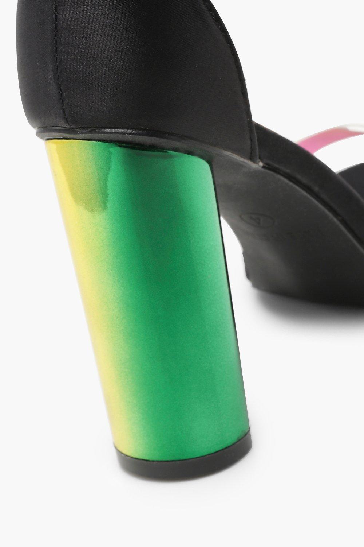 5219986657b6 Lyst - Boohoo Iridescent Strap Block Heels in Black