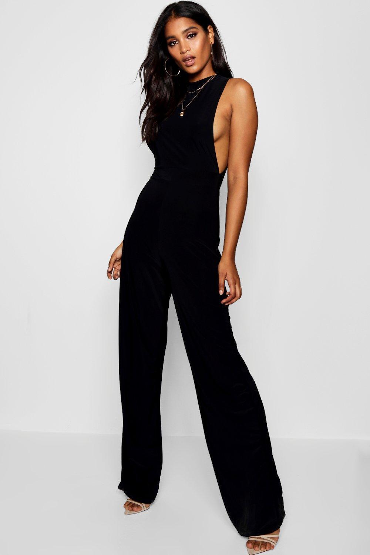 77956c74f967 Boohoo Side Boob Slinky Jumpsuit in Black - Lyst