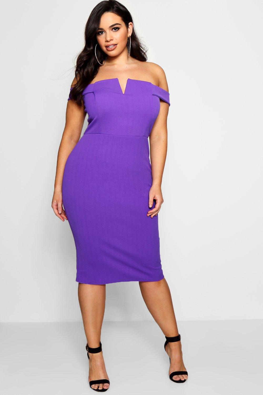 Lyst - Boohoo Plus Nina Bardot Bodycon Dress in Purple