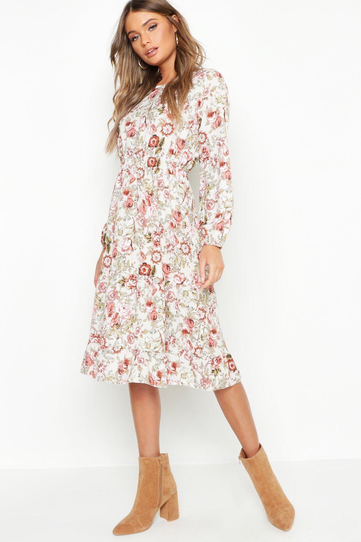 e1a3fb69c437 Boohoo. Women's Boho Floral Print Ruffle Hem Midi Dress