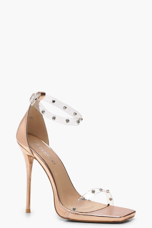 0c94c51c8713 Boohoo Embellished Clear Strap 2 Part Heels - Lyst