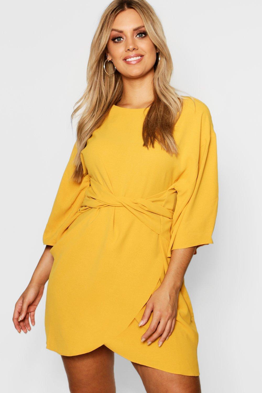 e566b81fe665 Lyst - Boohoo Plus Kimono Sleeve Wrap Dress in Yellow