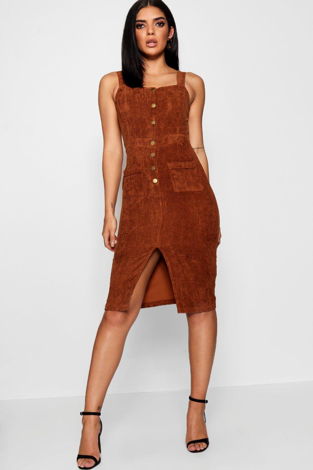 c10b1b17f432 Lyst - Boohoo Cord Button Front Midi Pinafore Dress in Brown