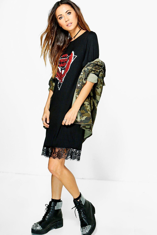 099d3ec60eb8 Boohoo Abbie Oversized Band T-shirt Dress in Black - Lyst