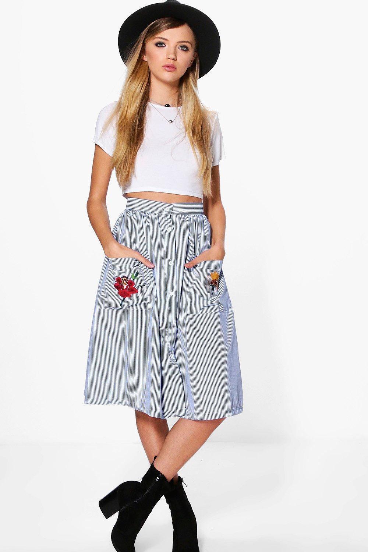 68bdbb4020b Lyst - Boohoo Xanthe Striped Embroidered Pocket Midi Skirt in Blue