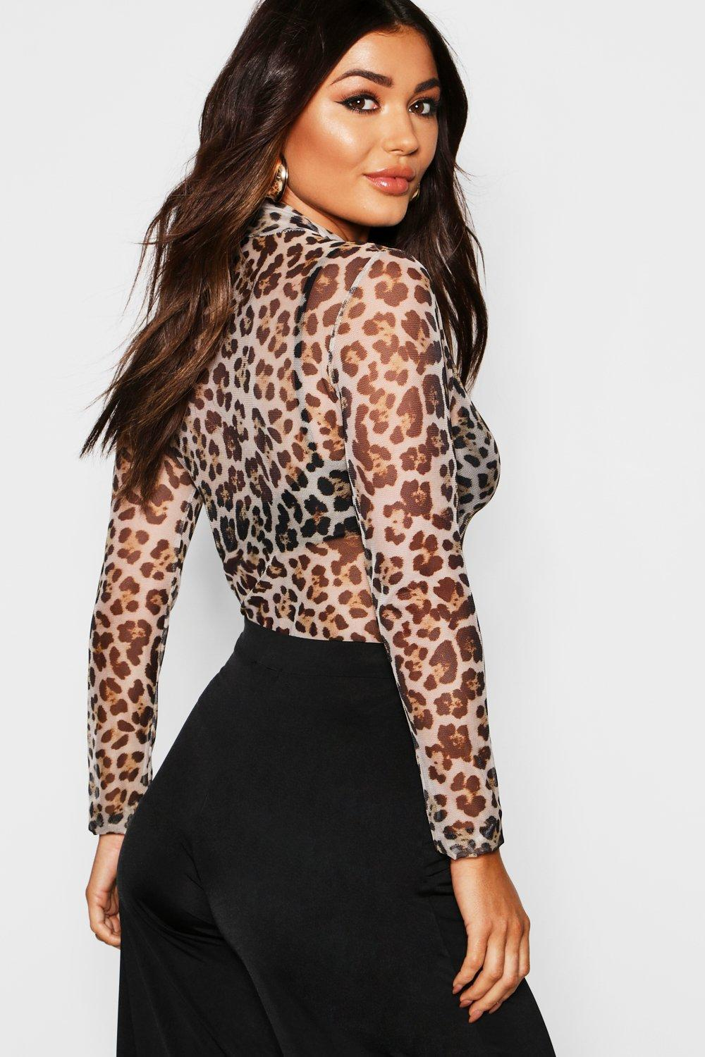 c2c0042bb24 Boohoo Leopard Print Mesh Turtle Neck Long Sleeve Top in Natural - Lyst