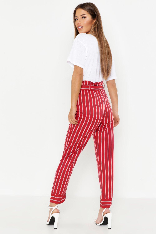 1167e1b0221c8 Boohoo - Petite Paper Bag Waist Stripe Tapered Trouser - Lyst. View  fullscreen