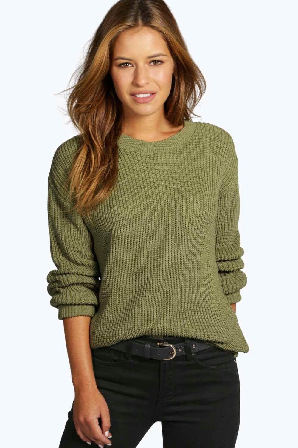 3b18d14a11 Boohoo Petite Oversized Jumper in Green - Lyst