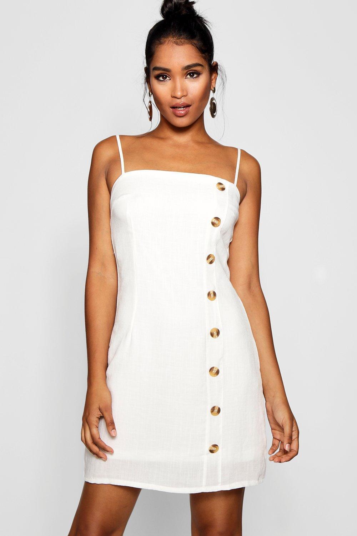0995ab41b8 Boohoo Mock Horn Button Linen Mini Dress in White - Lyst