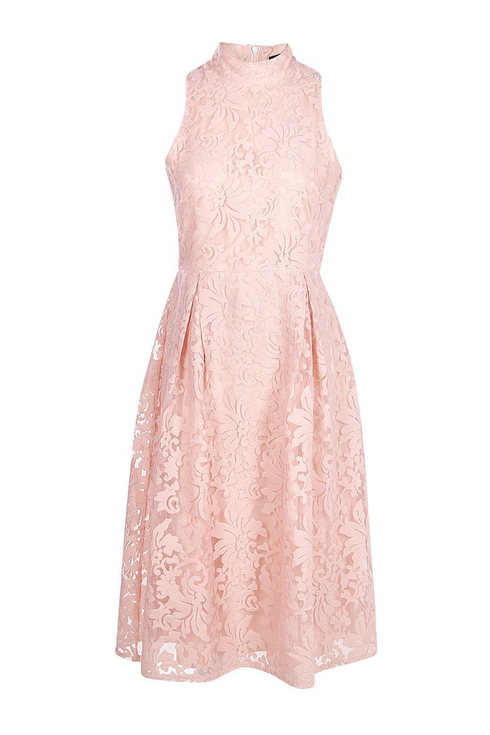 78efa0c2d8 Lyst - Boohoo Elle Embroidered High Neck Midi Skater Dress in Pink