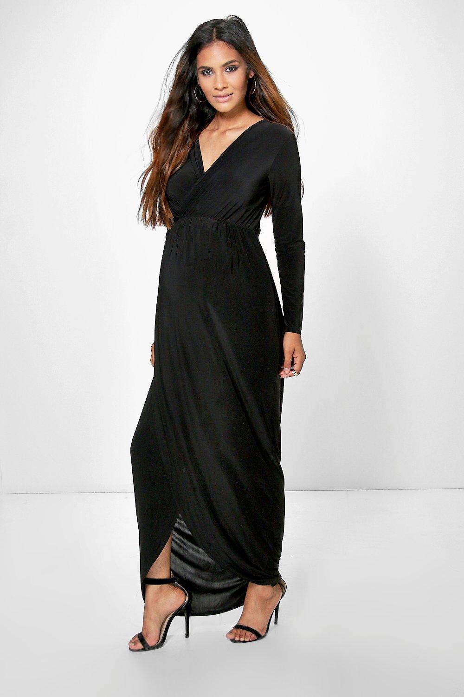 15cd5e18abde Boohoo Maternity Wrap Front Maxi Dress in Black - Lyst