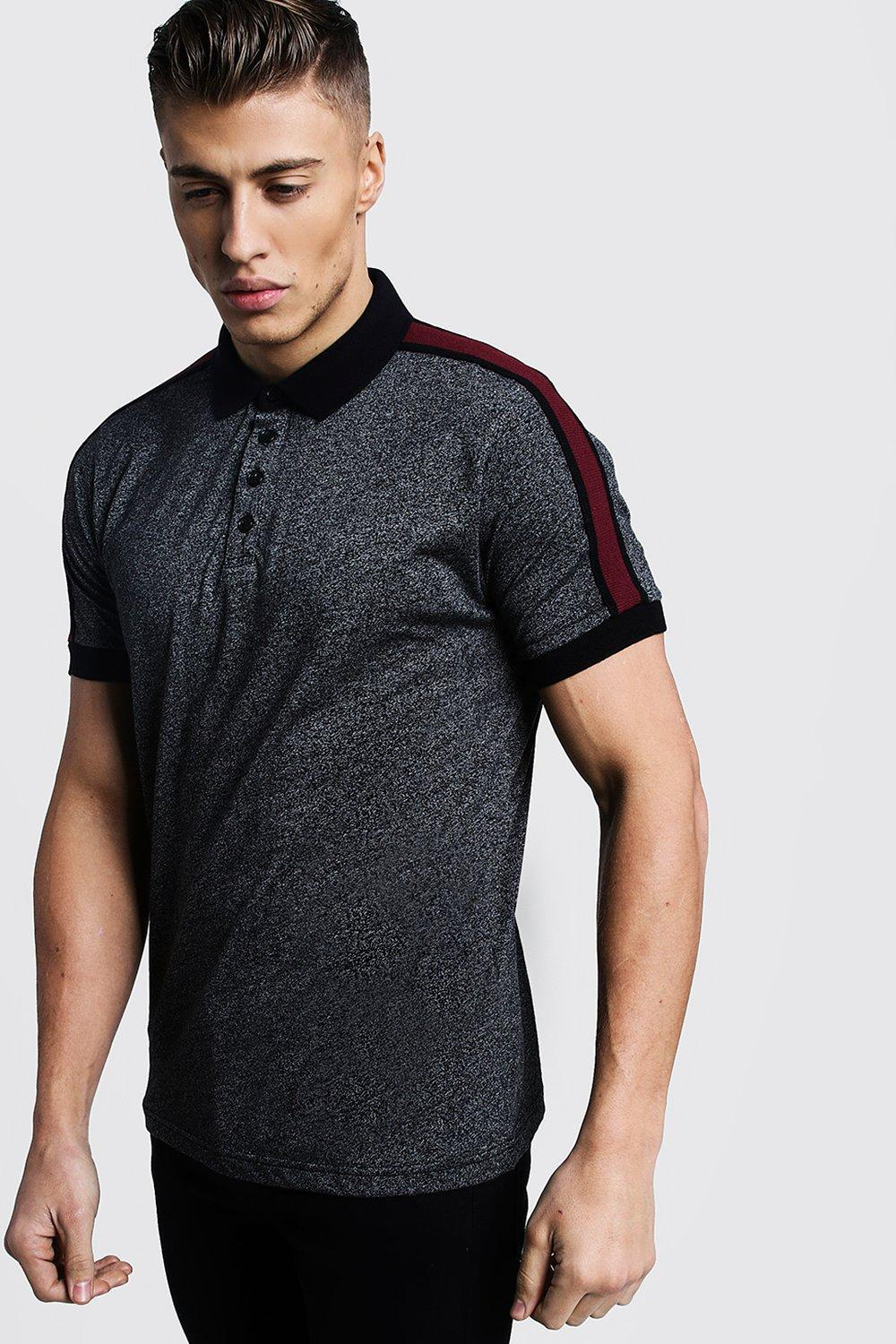 72d26e77e478 Lyst - Boohoo Melange Jersey Polo With Side Tape in Black for Men