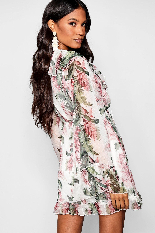 55296909a6b5 Boohoo - Multicolor Floral Print Flared Sleeve Frill Skater Dress - Lyst.  View fullscreen
