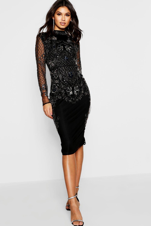 ad65716b3757 Boohoo Boutique Embellished Midi Dress in Black - Lyst