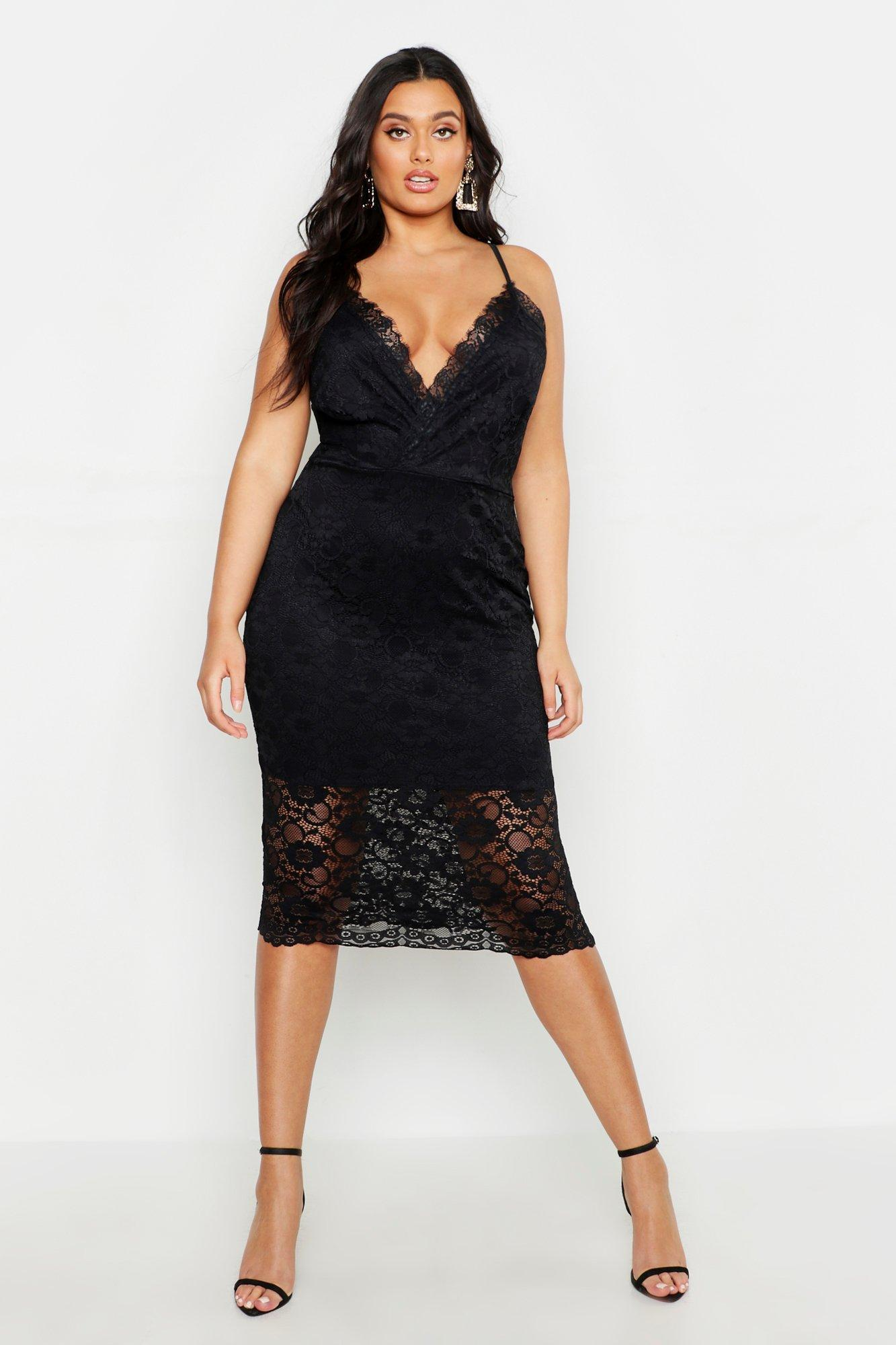 7a14acce8533 Boohoo Plus Lace Plunge Midi Dress in Black - Lyst