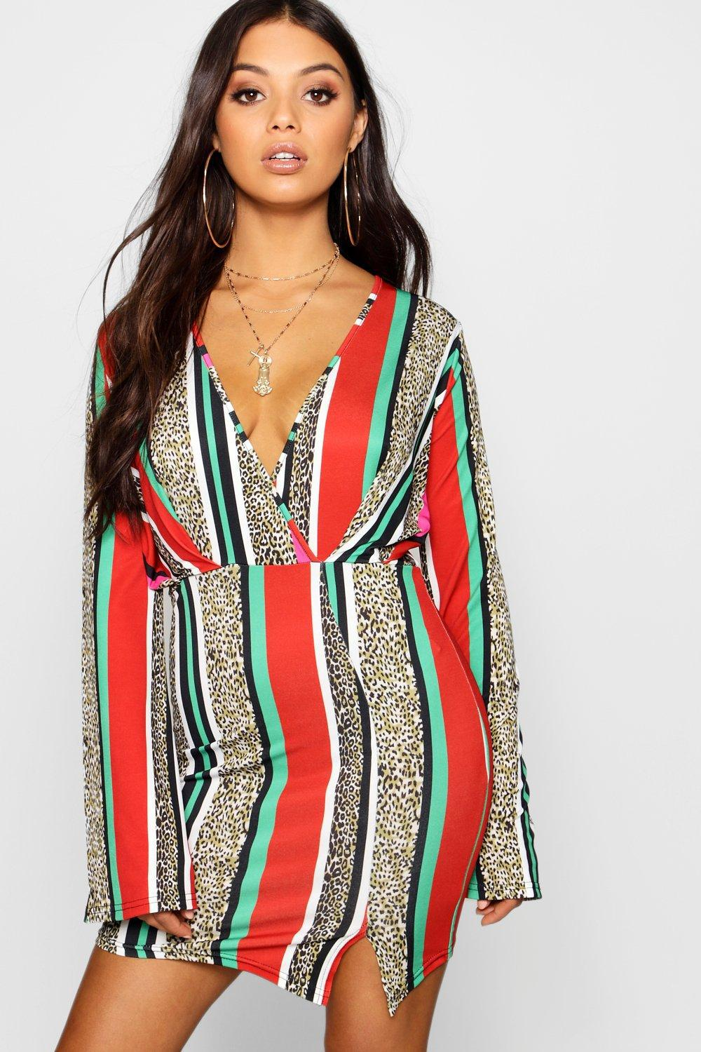 538d55f4816a9 Boohoo Petite Leopard And Stripe Kimono Sleeve Dress in Red - Lyst