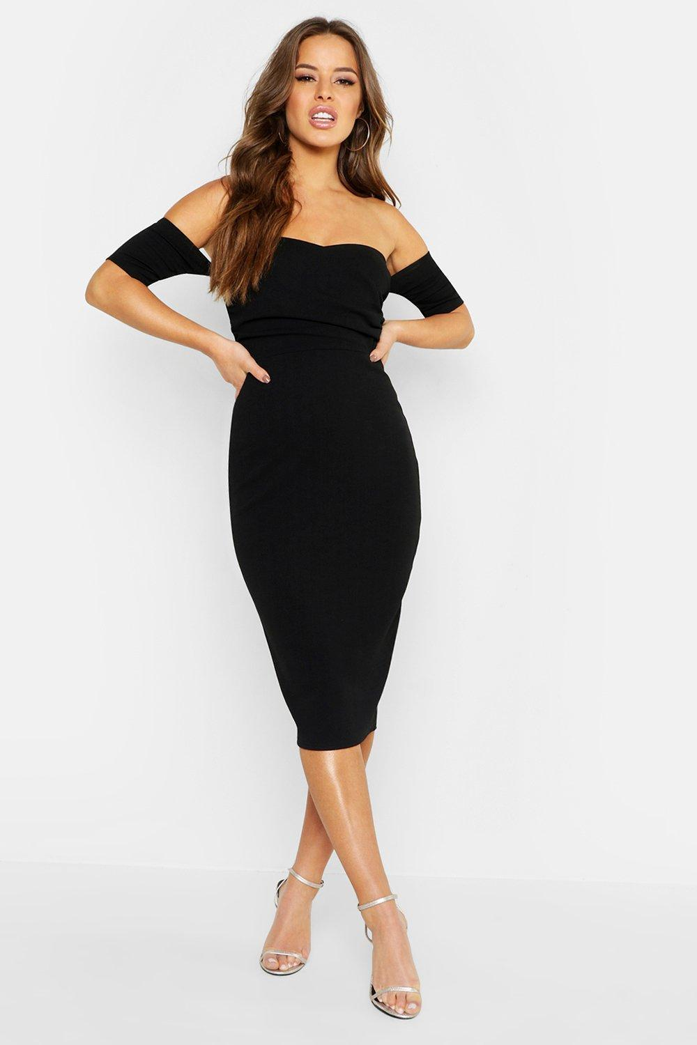 81344ba03152 Boohoo Petite Wrap Bardot Midi Dress in Black - Lyst