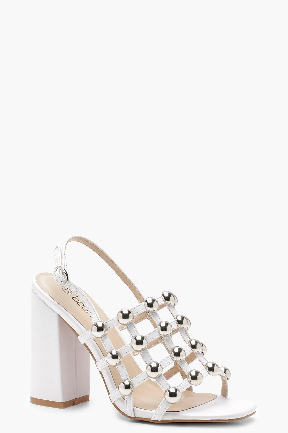 288a0c3636b Boohoo Cage Studded Block Heels in White - Lyst