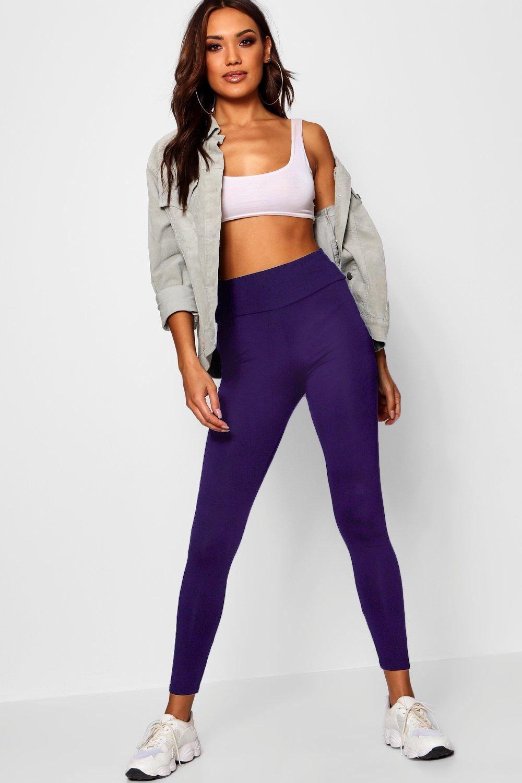 c84eaf66b5155 Boohoo Basic High Waist Leggings in Purple - Lyst