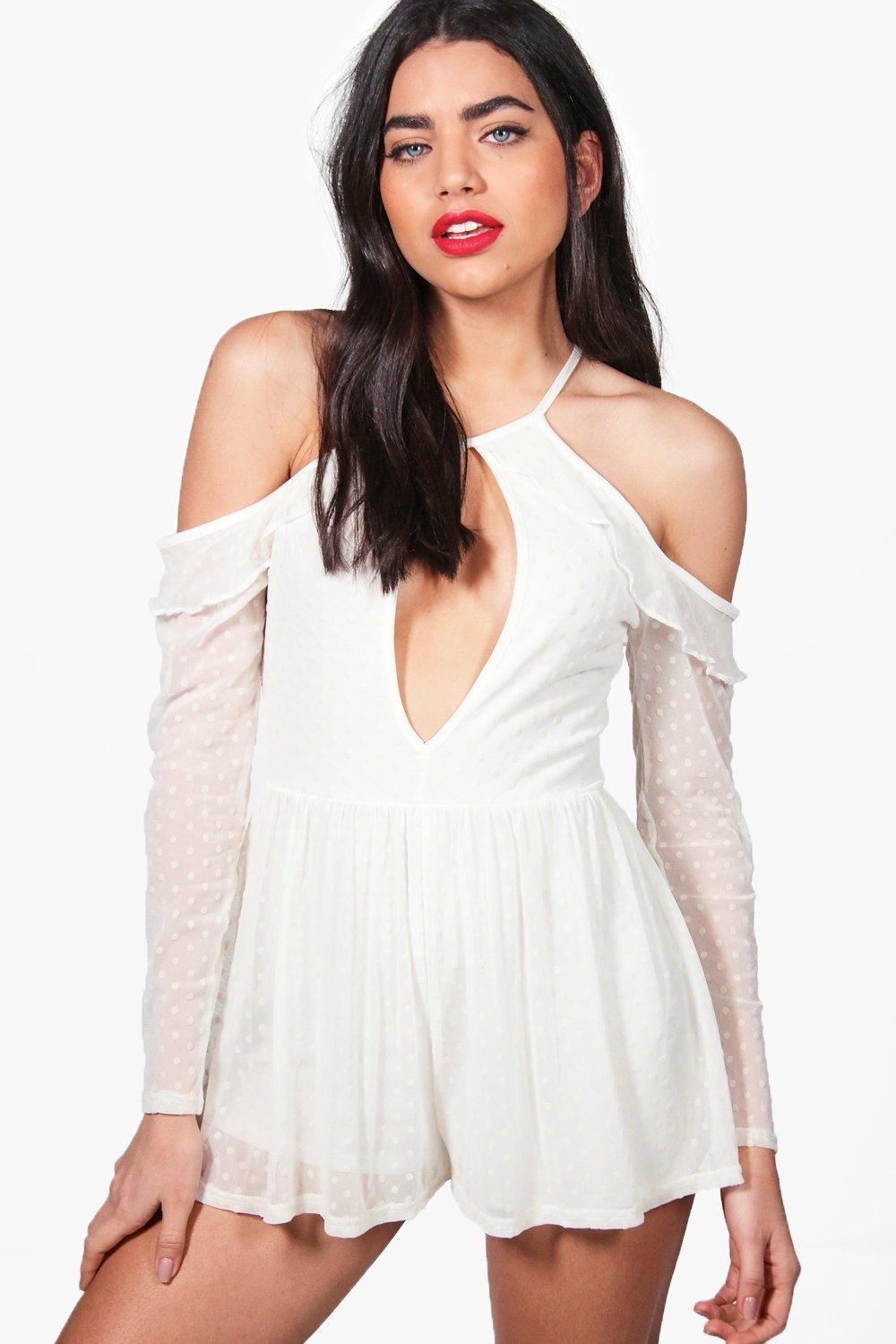 60071ce02f Boohoo Zoe Cold Shoulder Ruffle Spot Mesh Playsuit in White - Lyst