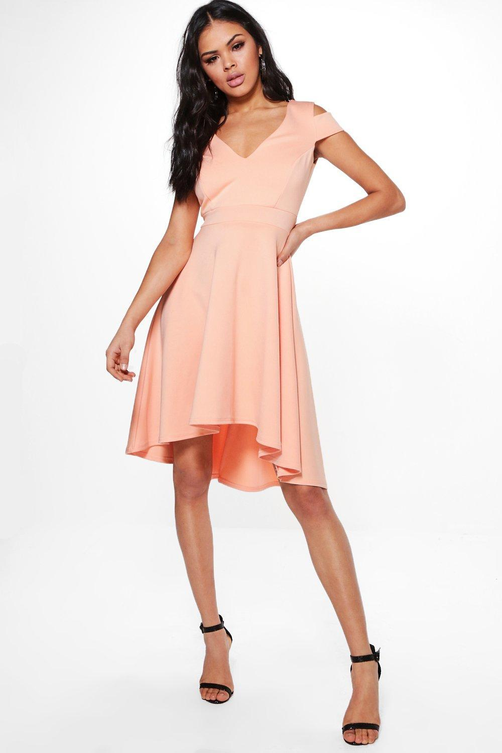 cf23b1bc54e4 Boohoo Clea Bardot Plunge Skater Dress in Orange - Lyst
