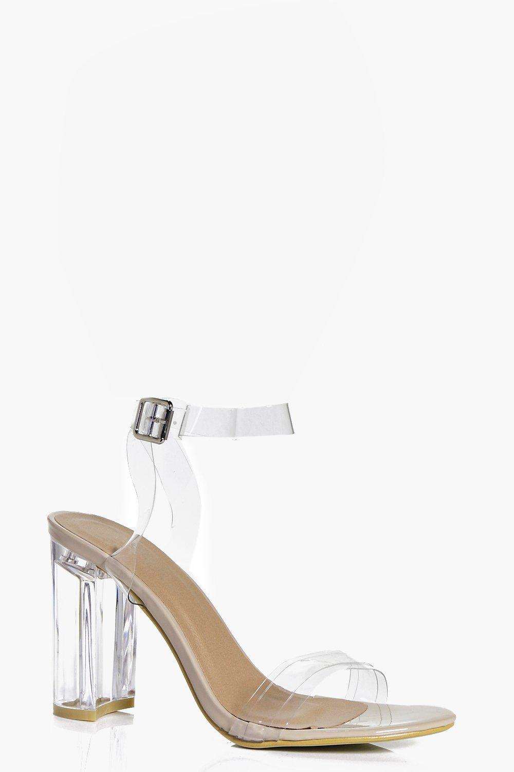 e67d6a7ade Boohoo Maisy Two Part Clear Block Heel - Lyst