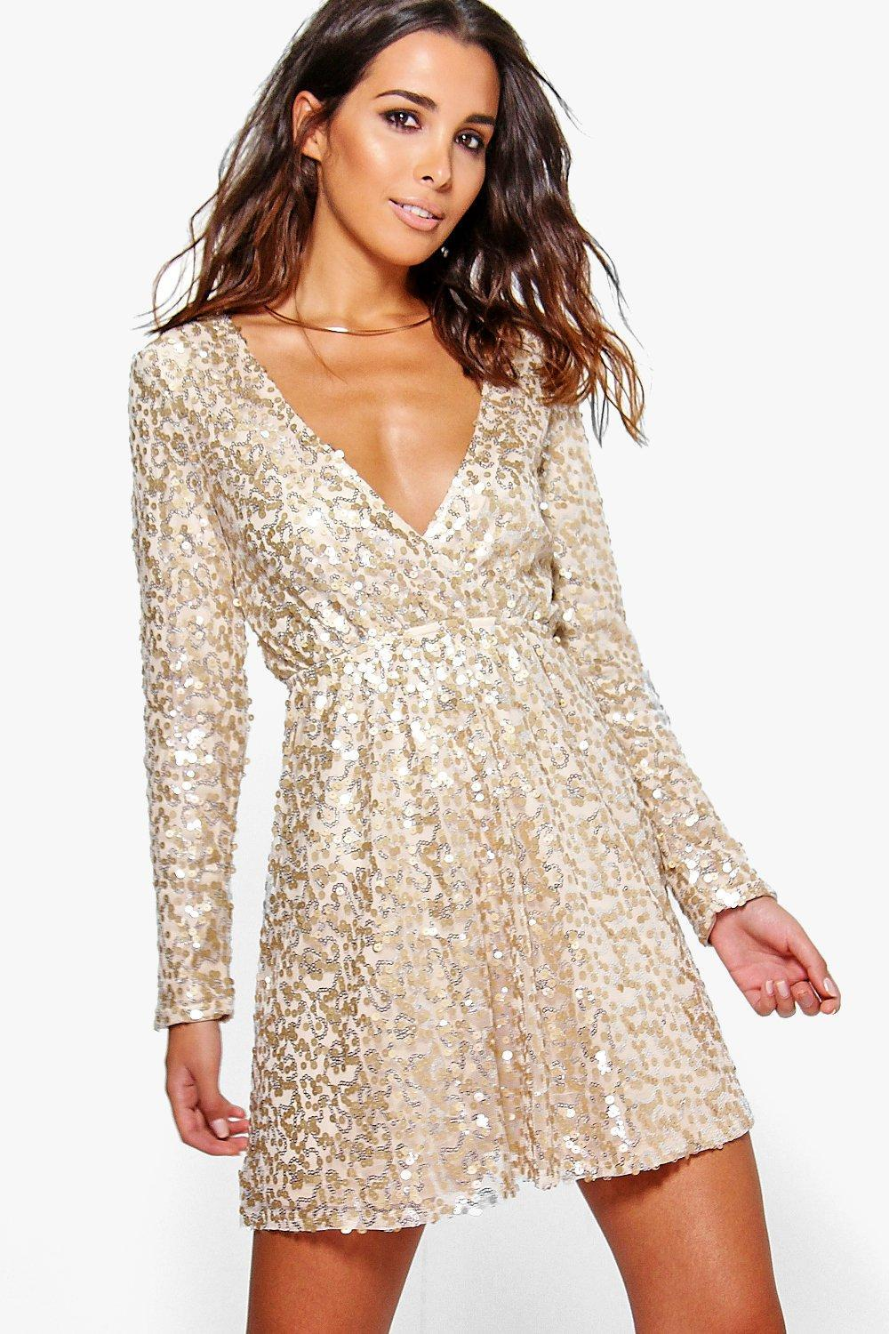 Boohoo Boutique Sara Sequin Wrap Skater Dress In Metallic