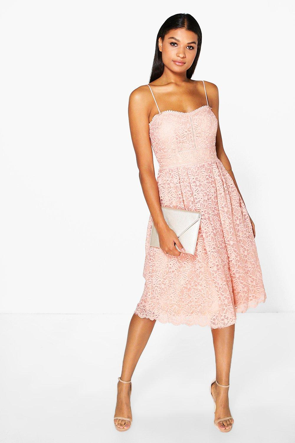Boohoo Boutique Abie Embroidered Strappy Midi Skater Dress