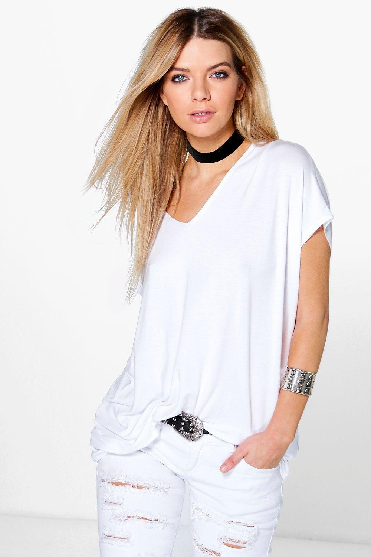 Boohoo Isobel Oversized V Neck T-Shirt In White  Lyst-9248