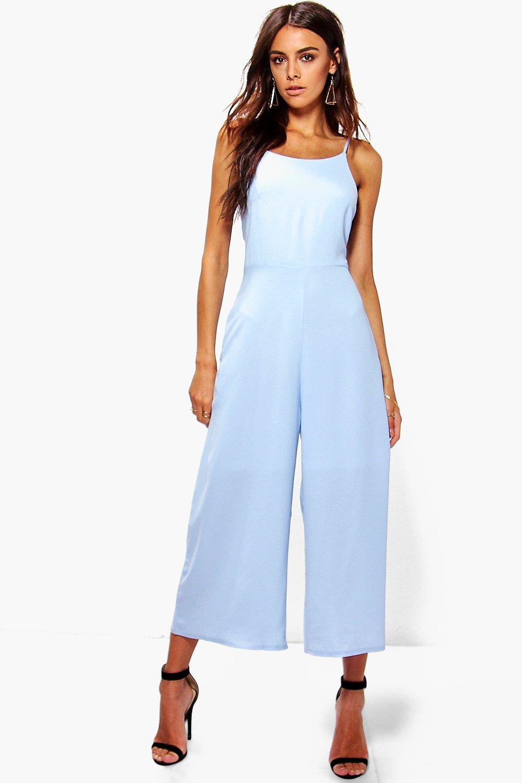 2ba1e3eeff Boohoo Nia Low Back Woven Culotte Jumpsuit in Blue - Lyst