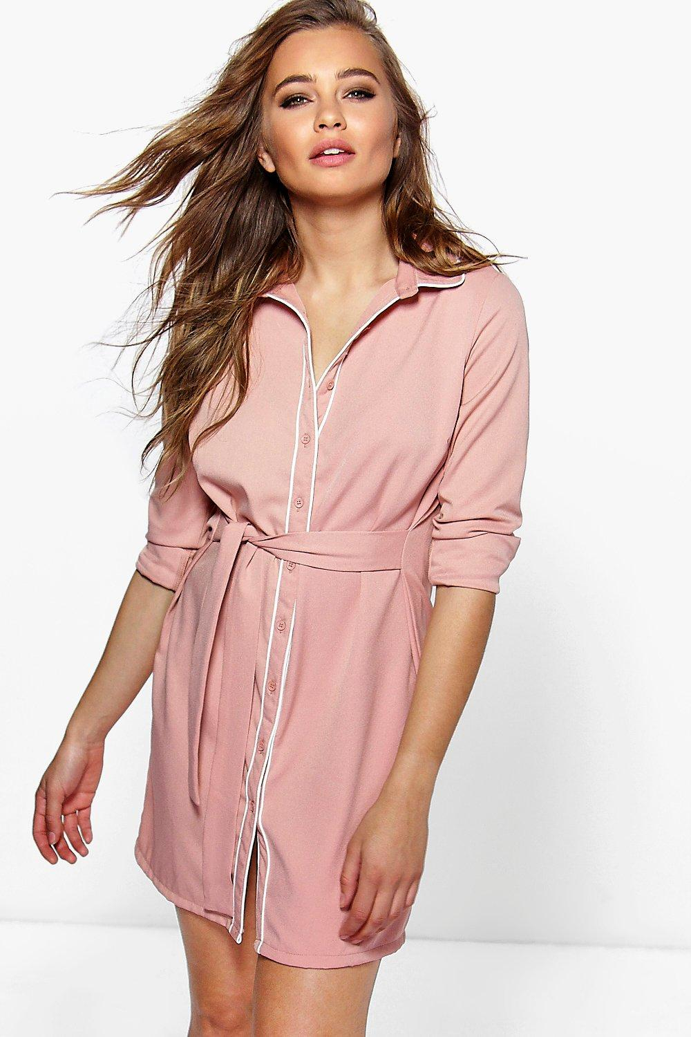 Boohoo Hayley Contrast Tipped Shirt Dress in Black