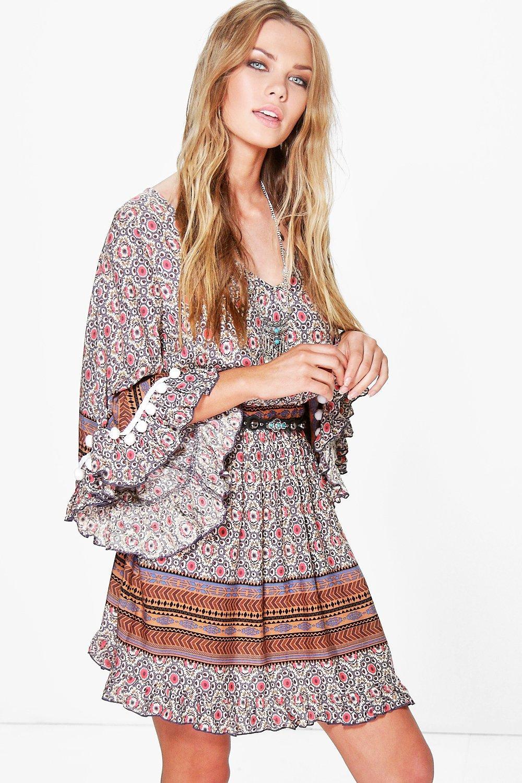 Lyst Boohoo Anila Crochet Pom Pom Printed Smock Dress