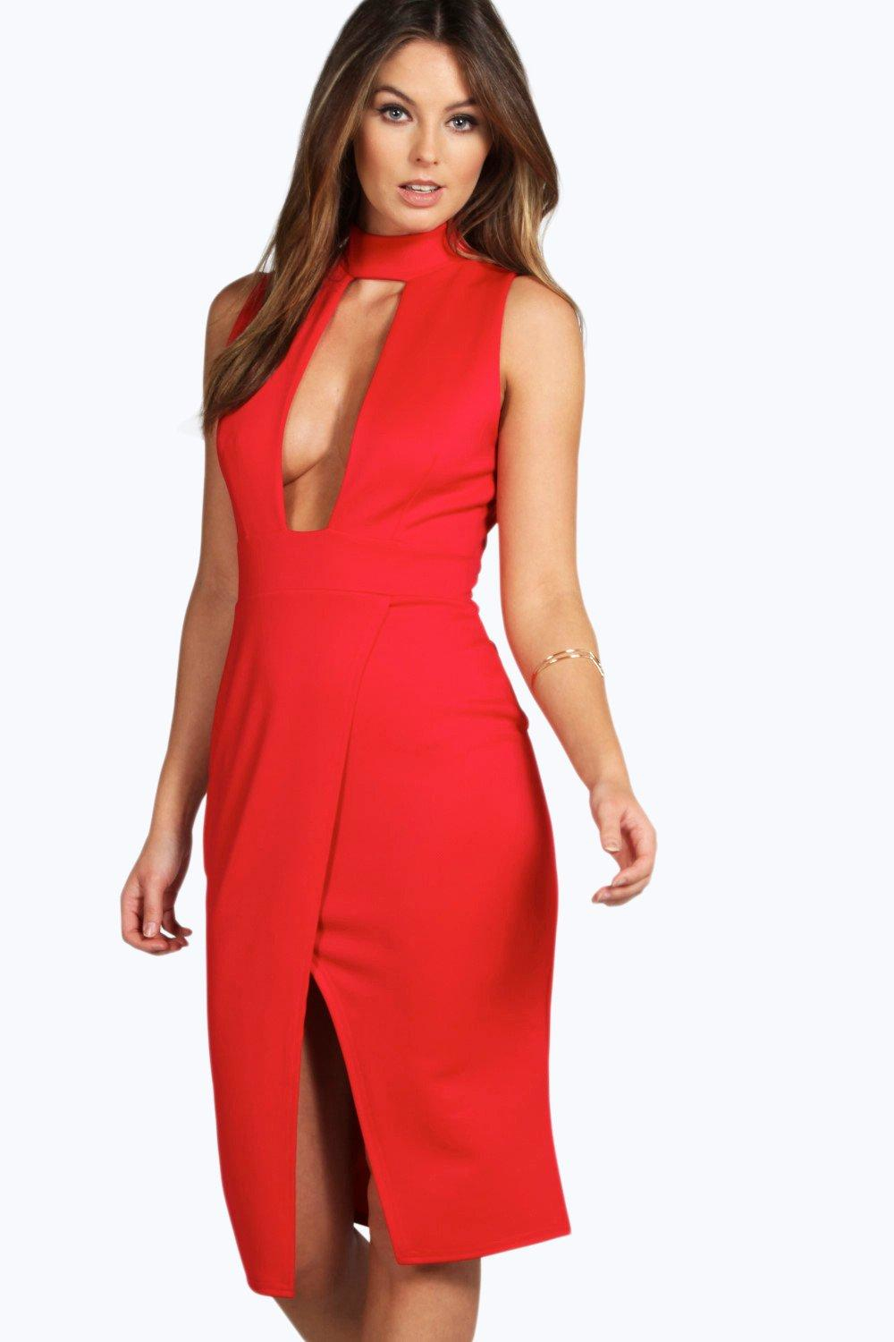 Boohoo Paula High Neck Cut Out Wrap Midi Dress In Red Lyst