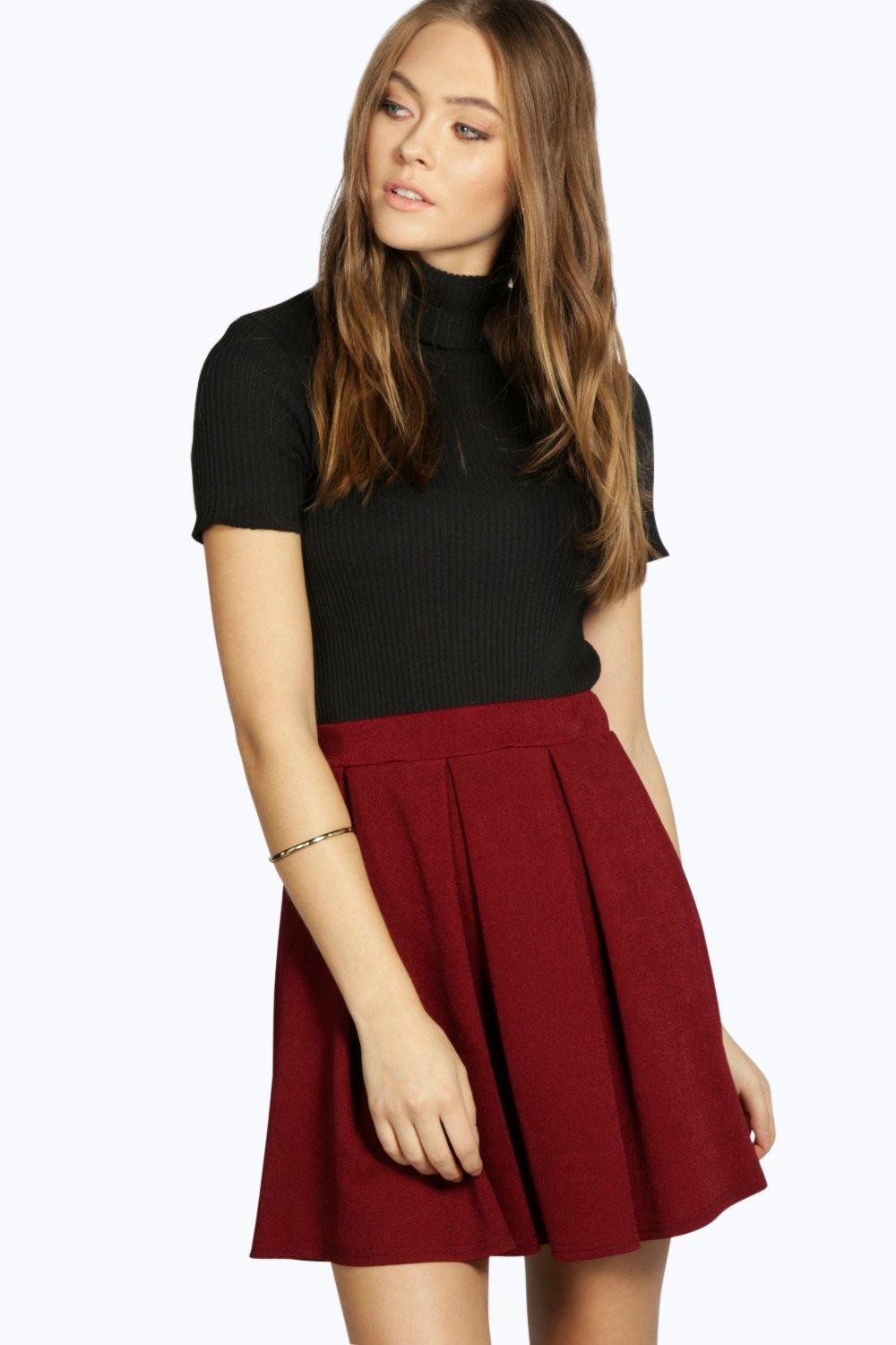 Black Pleated Skater Skirt River Island
